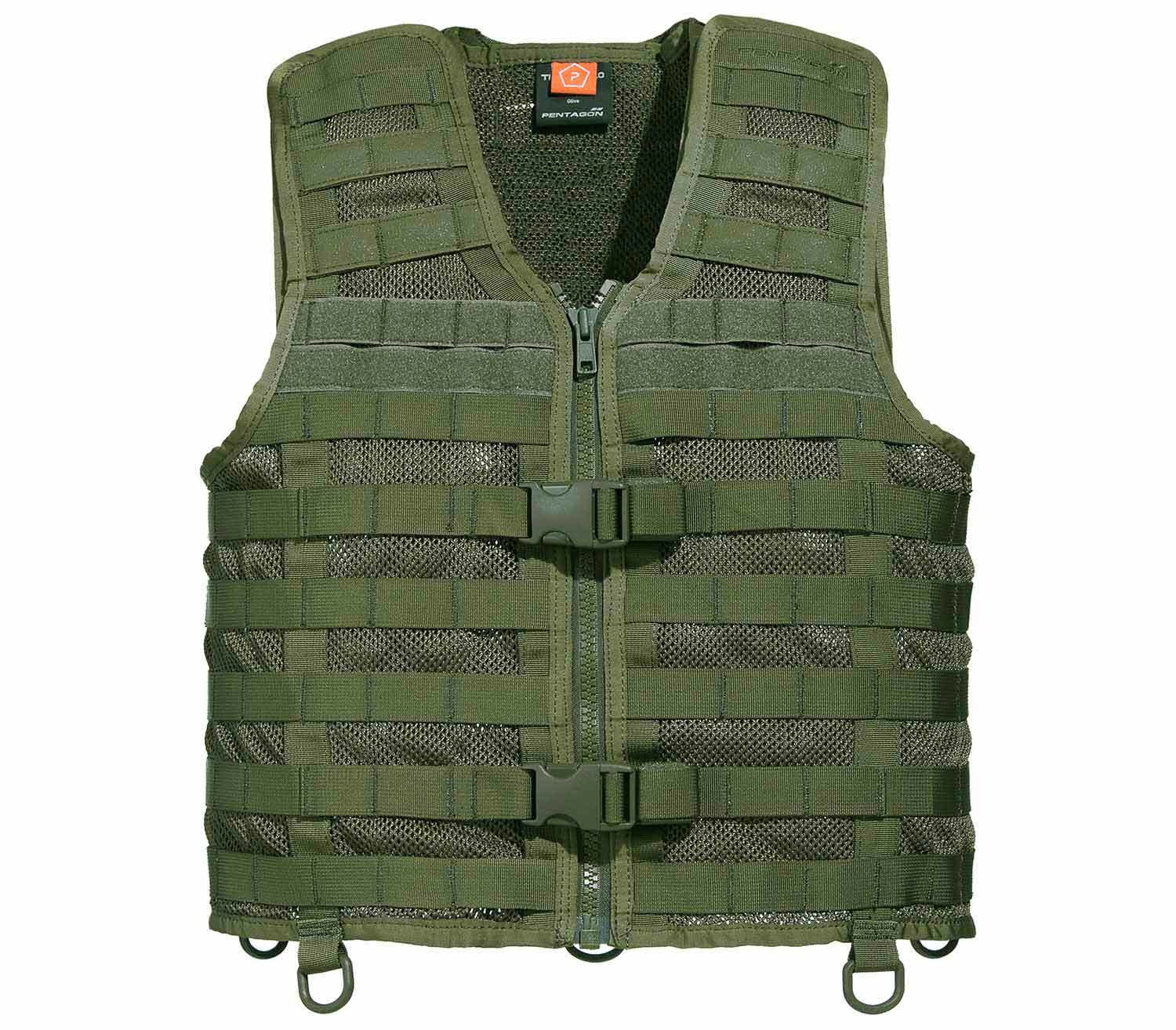 Chaleco Tactico Pentagon Thorax MOLLE Oliva frontal
