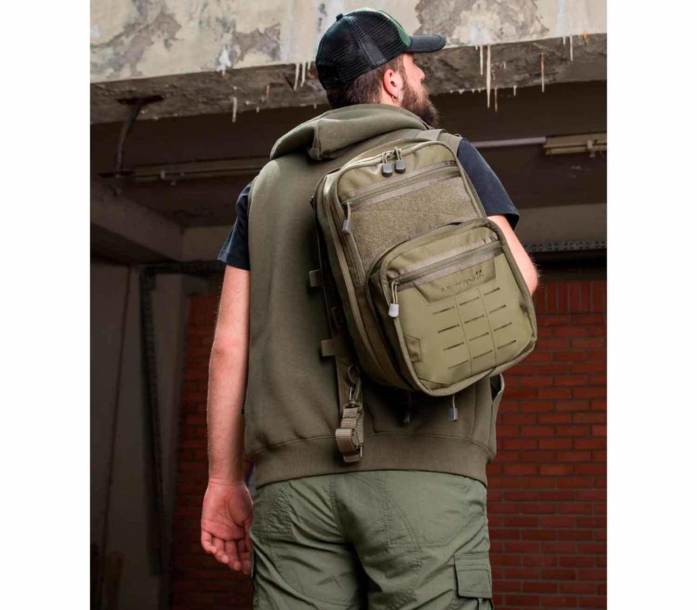 Mochila Pentagon Quick Bag Oliva extendida