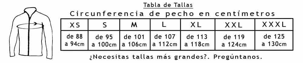 Tabla de Tallas Chaquetas 106-124