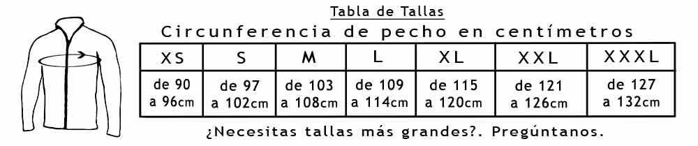 Tabla de Tallas Chaquetas 108-126