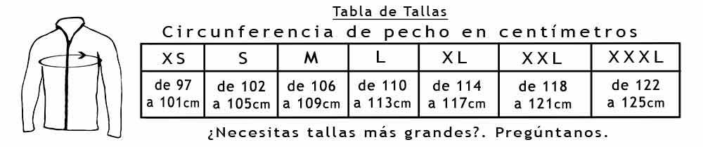 Tabla de Tallas Chaquetas 109-121