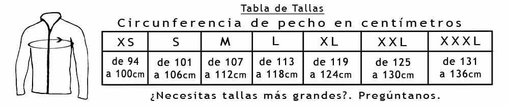 Tabla de Tallas Chaquetas 112-130