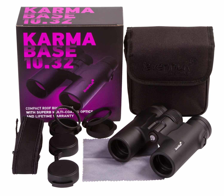 Prismáticos Levenhuk Karma BASE 10x32 contenido