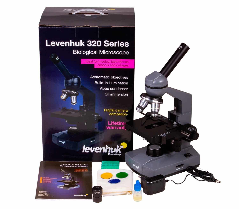 Microscopio Biológico Monocular Levenhuk 320 PLUS contenido