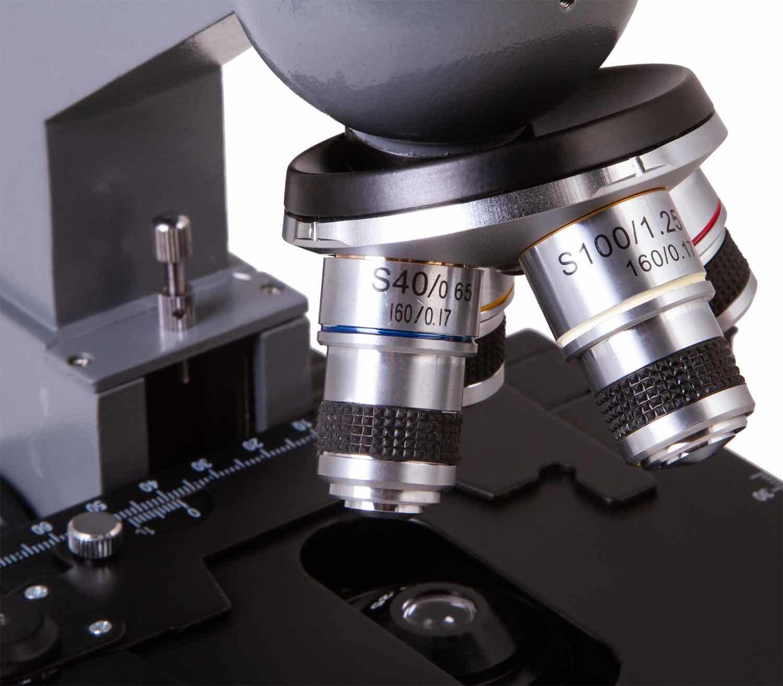 Microscopio Biológico Monocular Levenhuk 320 PLUS objetivos