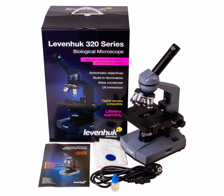 Microscopio Monocular Biológico Levenhuk 320 BASE caja